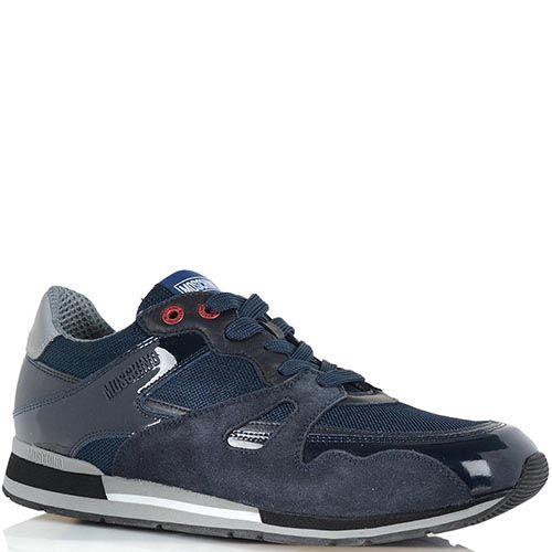 Мужские кроссовки Moschino синего цвета со вставками из лаковой кожи, фото