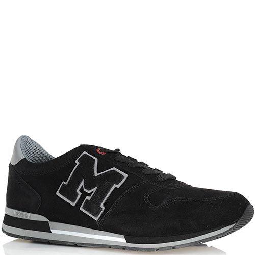Замшевые кроссовки Moschino черного цвета на серой подошве, фото
