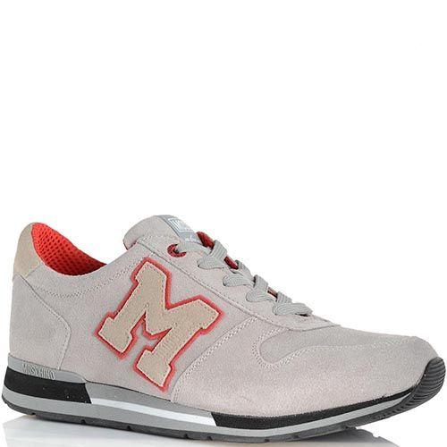 Мужские кроссовки Moschino пепельного цвета с красной отделкой, фото