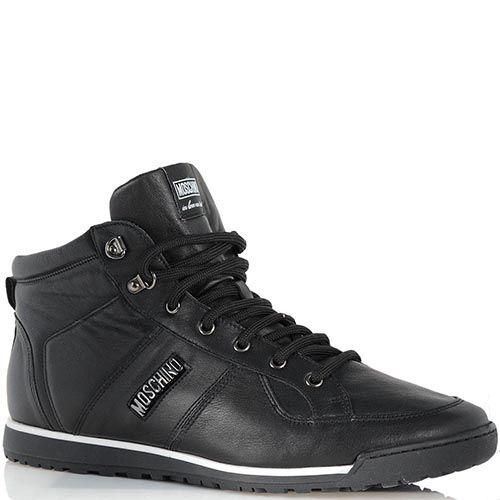 Завышенные кроссовки Moschino из черной кожи, фото