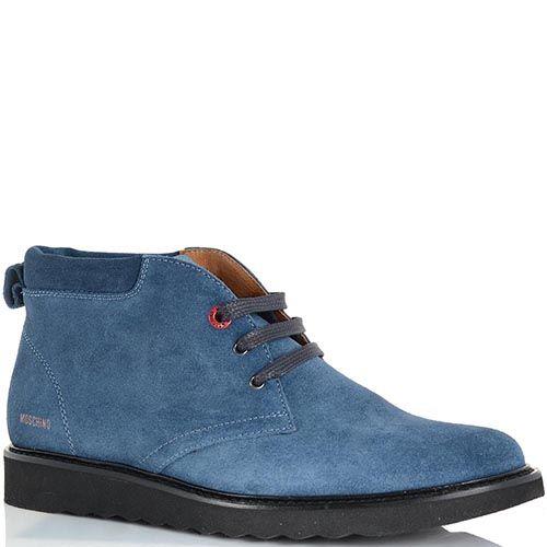 Ботинки Moschino из замши голубого цвета на черной подошве, фото