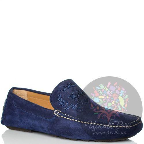 Мокасины La Martina замшевые синие с фирменной вышивкой, фото