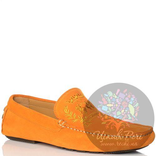 Мокасины La Martina замшевые оранжевые яркие, фото