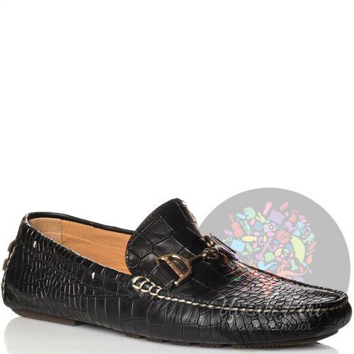 Лоферы La Martina кожаные черные с фактурой шкуры крокодила, фото
