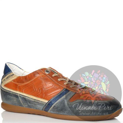 Кроссовки La Martina кожаные рыже-коричневые с сине-серыми вставками, фото