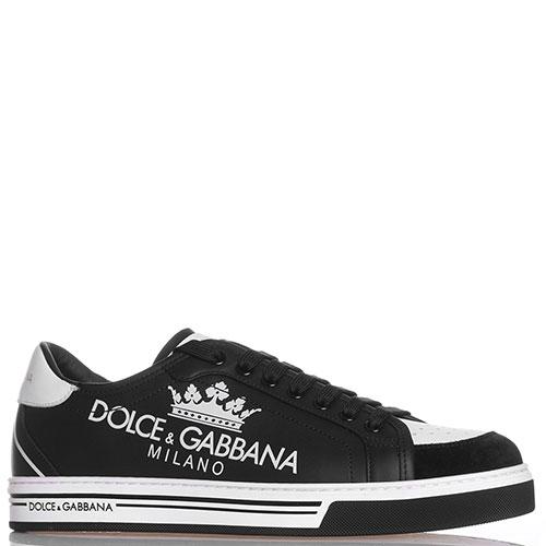Черные кеды Dolce&Gabbana с брендовыми надписями, фото