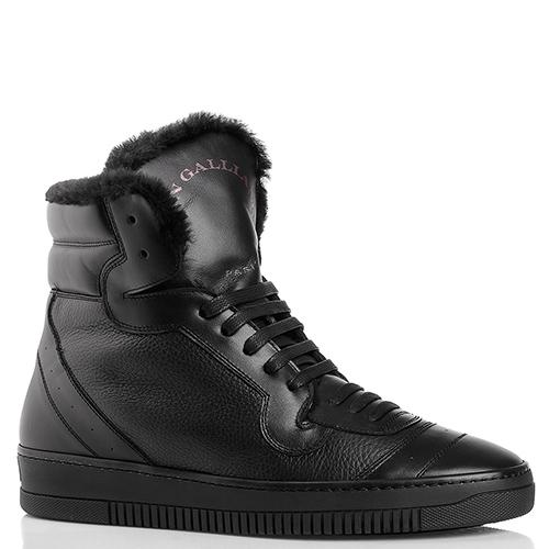 Черные ботинки John Galliano из комбинации гладкой и зернистой кожи, фото