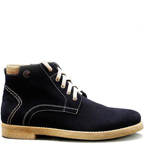 Мужские демисезонные ботинки Modus Vivendi из замши темно-синего цвета с декоративной строчкой белого цвета, фото