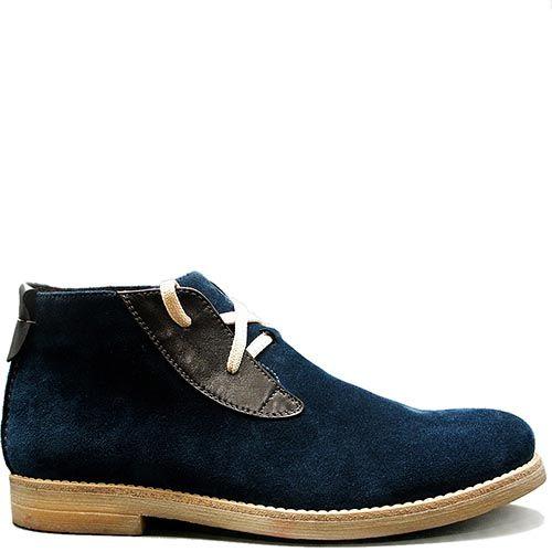 Демисезонные ботинки Modus Vivendi из замши сине-голубого цвета с белыми шнурками, фото
