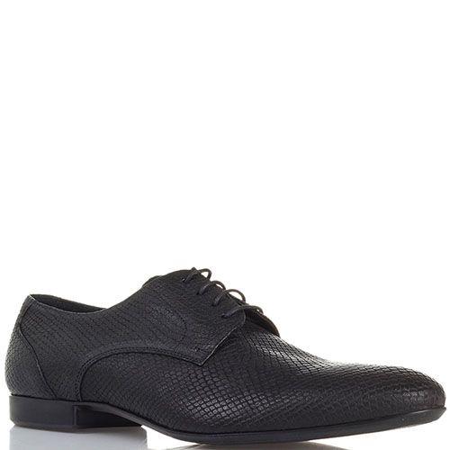 Кожаные туфли с тиснением под змею черного цвета Roberto di Paolo, фото