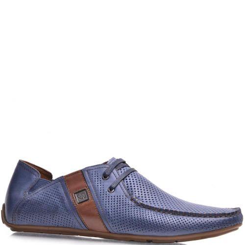 Мокасины Prego мужские синего цвета кожаные, фото