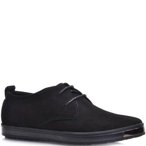 Туфли Prego спортивные черного цвета на шнуровке с металлической вставкой на носке, фото