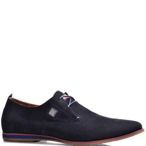Туфли Prego мужские из нубука синего цвета с цветной подошвой, фото