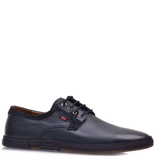 Туфли Prego из кожи синего цвета со шнурками, фото