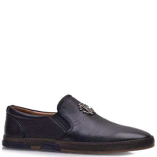 Туфли Prego Prego из натуральной кожи черного цвета с резинками-вставками, фото