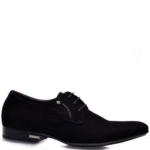 Туфли Prego Prego из натуральной замши черного цвета на шнуровке, фото