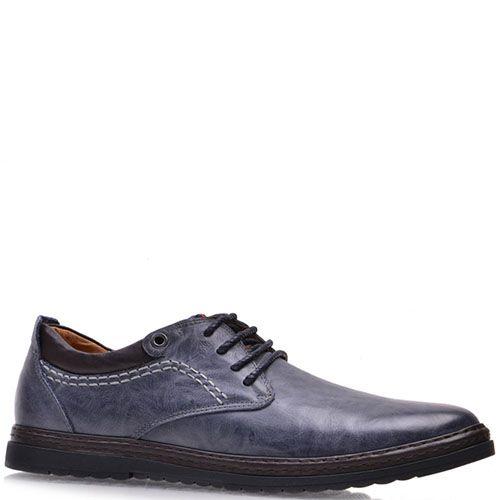 Туфли Prego из натуральной кожи синего цвета с коричневой линией вдоль подошвы, фото
