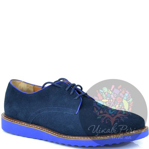 Туфли Armani Jeans из синей замши со шнуровкой и на толстой яркой подошве, фото