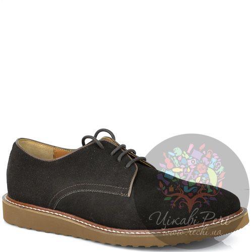 Туфли Armani Jeans коричневые замшевые со шнуровкой, фото