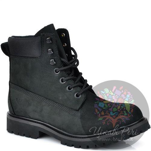 Ботинки Armani Jeans из черного нубука на шнуровке , фото