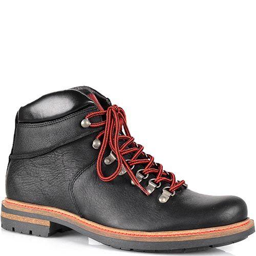 Кожаные черные ботинки Cafe Noir с ярко-красными шнурками на протекторной подошве, фото