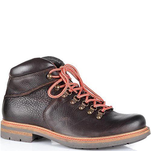 Кожаные ботинки Cafe Noir темно-коричневого цвета на протекторной подошве, фото