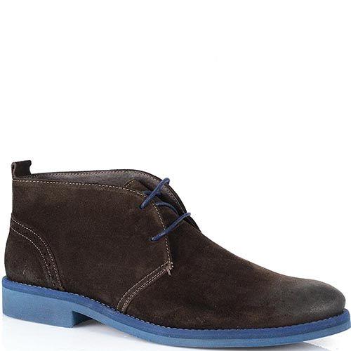 Замшевые ботинки Cafe Noir шоколадного цвета на насыщенно-синей подошве, фото