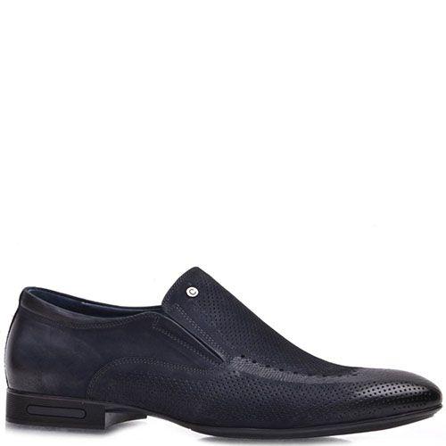 Туфли Prego из натурального нубука синего цвета с перфорацией, фото
