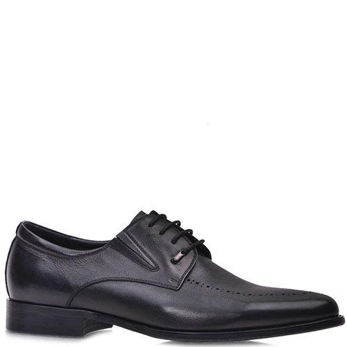 Туфли Prego черные из натуральной кожи на шнуровке, фото