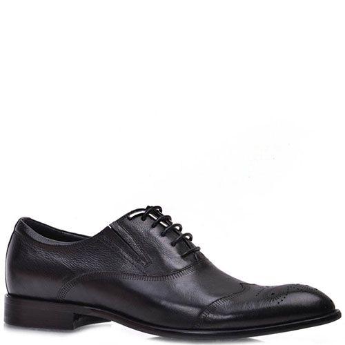 Туфли Prego из натуральной кожи черного цвета с узорчатой перфорацией, фото