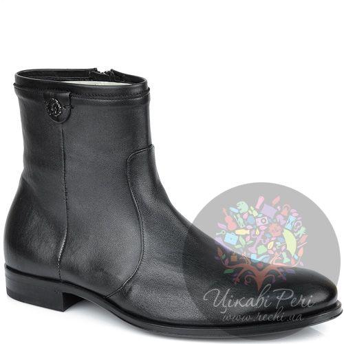 Ботинки Roberto Cavalli высокие кожаные черные на молнии, фото