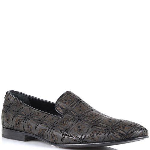 Туфли Roberto Cavalli коричневого цвета с перфорацией в виде орнамента, фото