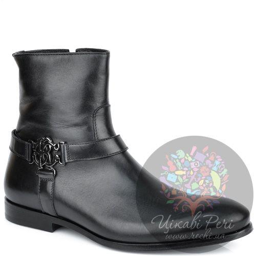 Ботинки Roberto Cavalli из черной кожи на молнии с ремешками-декором, фото