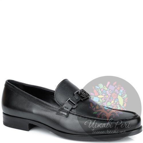 Туфли-лоферы Roberto Cavalli черные кожаные, фото