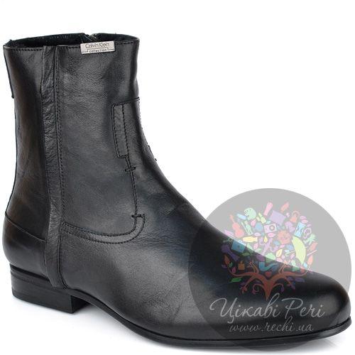 Ботинки Calvin Klein зимние кожаные черные на меху, фото