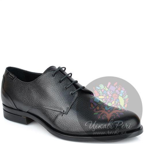 Туфли Calvin Klein из черной зернистой кожи на шнуровке, фото