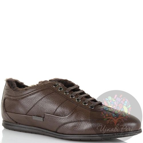 Зимние ботинки-кеды Calvin Klein кожаные коричневые с натуральным мехом, фото
