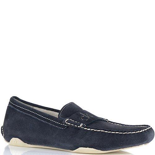 Туфли-мокасины Calvin Klein из замши темно-синего цвета с белой отделочной строчкой, фото
