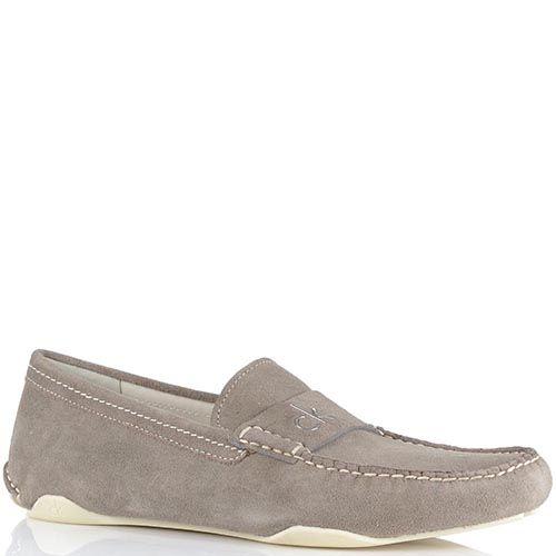 Туфли-мокасины Calvin Klein из натуральной замши бежевого цвета, фото