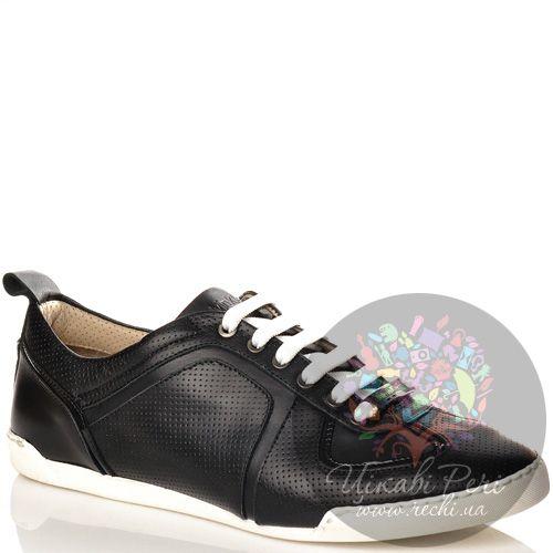 Кеды Calvin Klein Collection на белой подошве черные кожаные перфорированные на шнуровке, фото