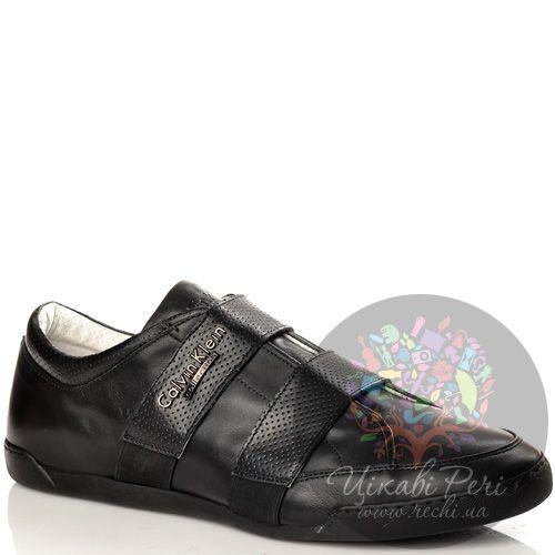 Кеды Calvin Klein Collection черные кожаные с перфорированными хлястиками на резинках, фото