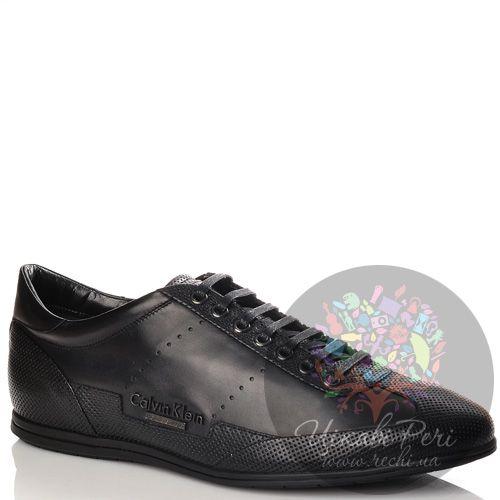 Кеды Calvin Klein Collection черные кожаные на шнуровке, фото