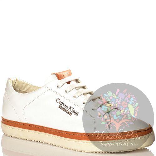 Кеды Calvin Klein Collection белые кожаные на высокой подошве, фото