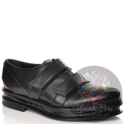 Туфли Calvin Klein Collection на высокой стильной подошве черные кожаные с хлястиками на липучках, фото