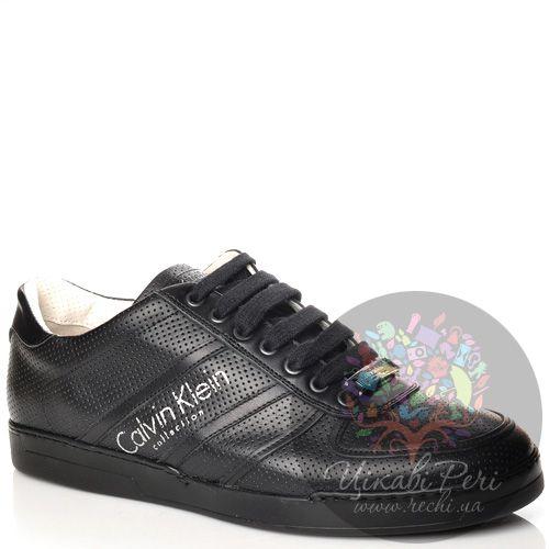 Кеды Calvin Klein Collection черные кожаные на утолщенной подошве, фото