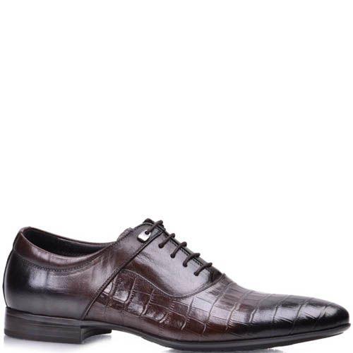 Туфли Grado мужские классические коричневого цвета с тиснением под кожу рептилии, фото