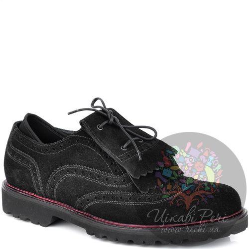 Туфли-броги Emporio Armani интересные черные замшевые, фото