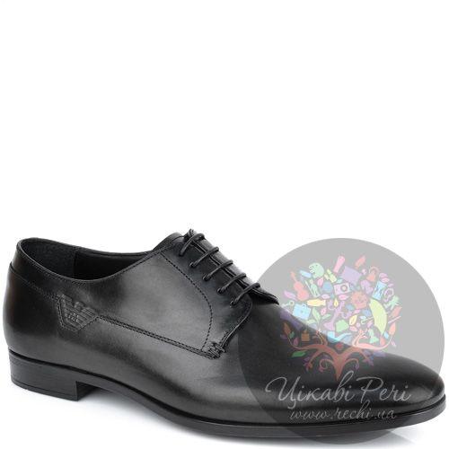 Туфли-дерби Emporio Armani классические черные кожаные, фото