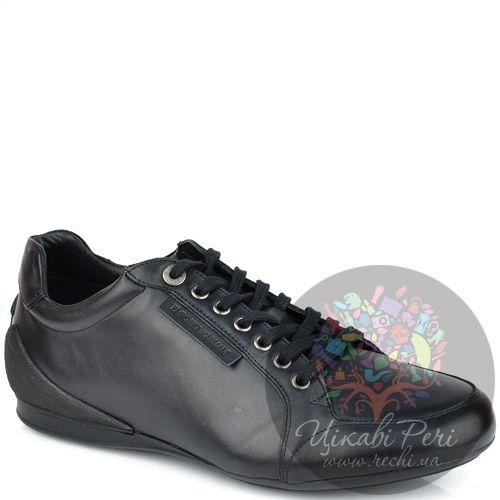 Кроссовки Emporio Armani из черной гладкой кожи, фото