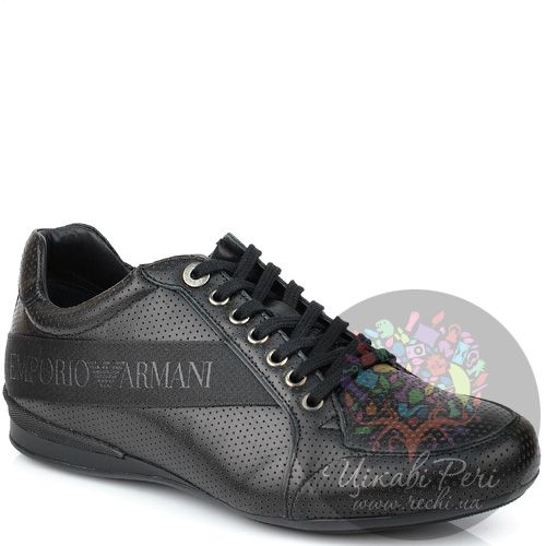 Кроссовки Emporio Armani из черной перфорированной кожи, фото